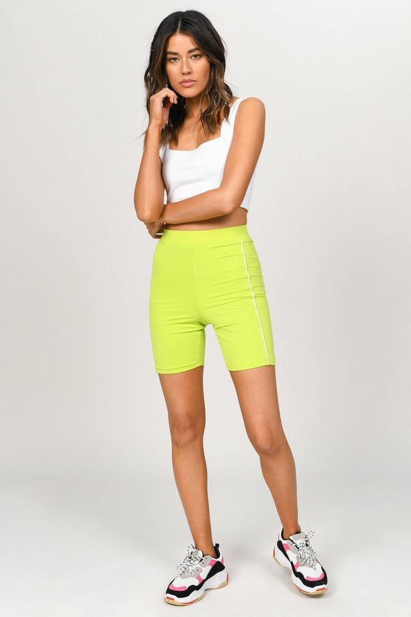 8a382aad1a ... Tobi New Arrivals, Slime Green, Speed Contrast Piping Bike Shorts, Tobi