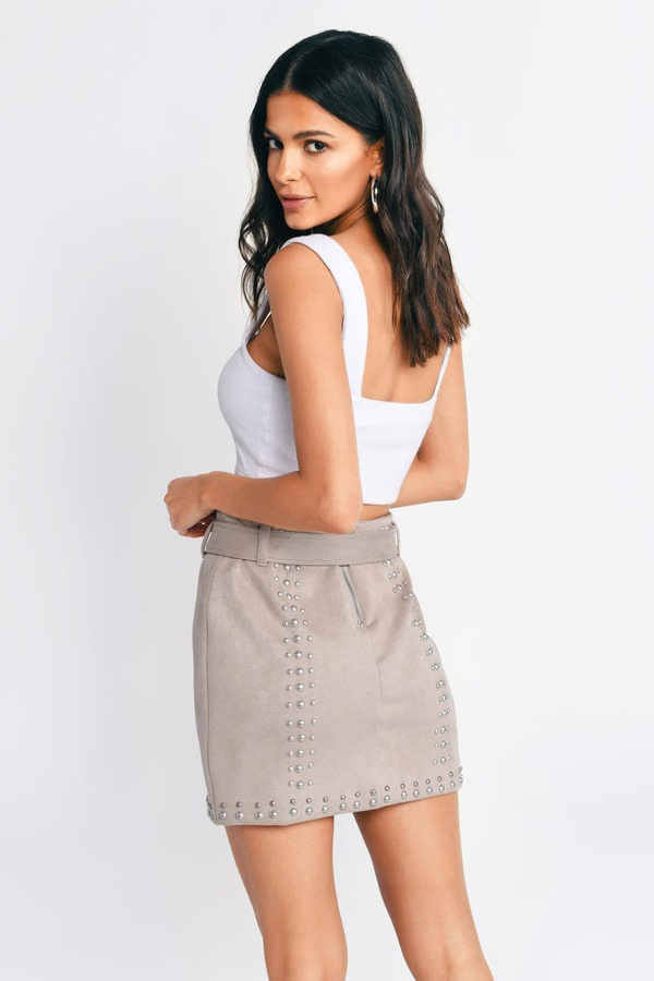 391743fd21 ... Tobi Two Piece Dresses, Stone, Renée Long Hanging Belted Faux Suede  Skirt , Tobi