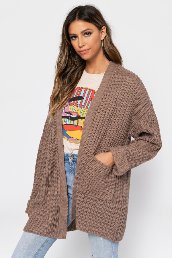 d2bda75719 A Little Closer Taupe Oversized Cardigan A Little Closer Taupe Oversized  Cardigan ...
