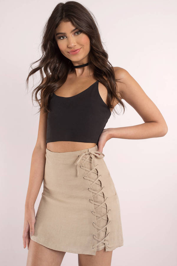 Cute Taupe Skirt Lace Up Skirt Taupe Skirt Mini