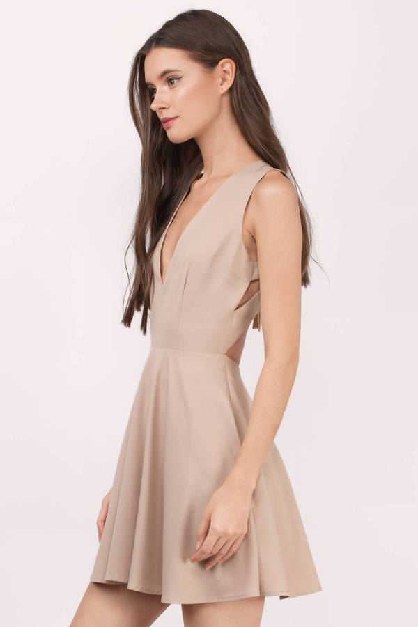 b210d8276d Beige Skater Dress - Open Back Dress - Flare Dress - V Neck Dress ...