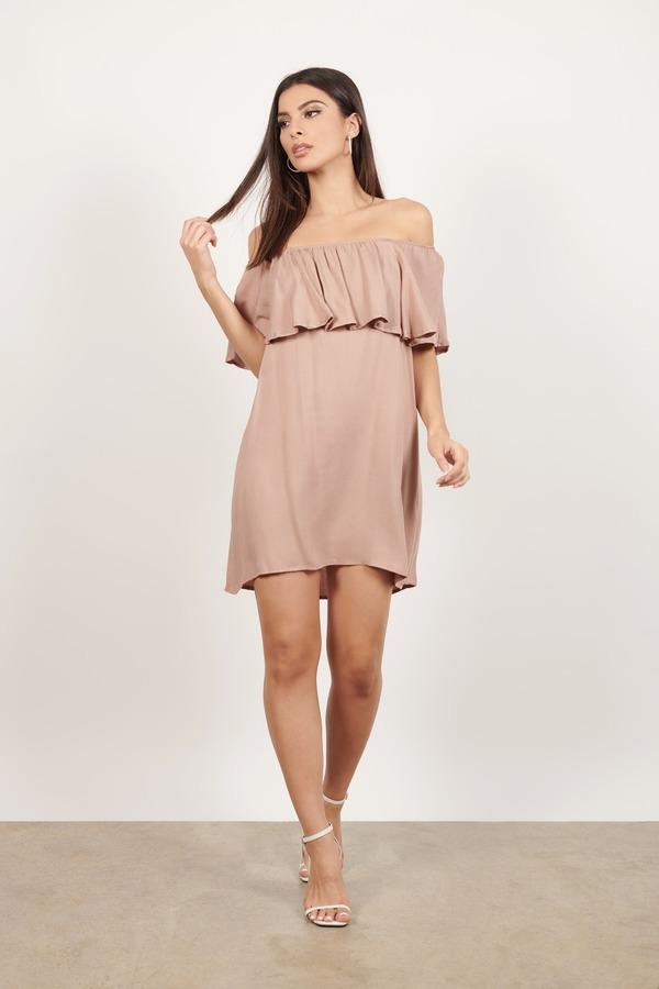e9150dcff7b0 Brown Shift Dress - Brunch Dress - Brown Off Shoulder Dress -  23 ...