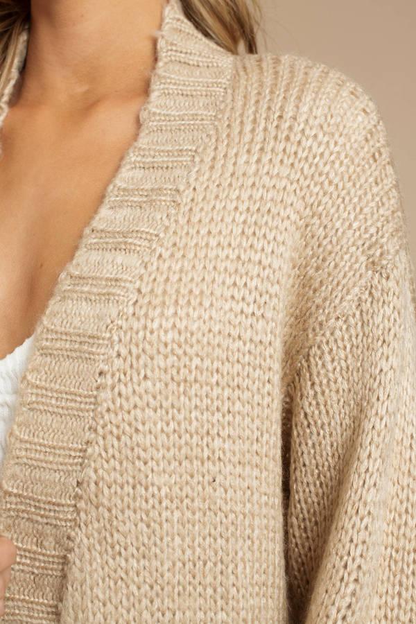 cb169e7186ab Beige Cardigan - Chunky Knit Cardigan - Beige Cable Knit Cardigan ...