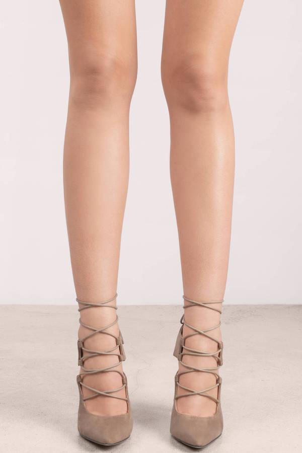 60f9d130d94b Trendy Taupe Heels - Lace Up Heels - Suede Heels - Pointed Toe Heels ...
