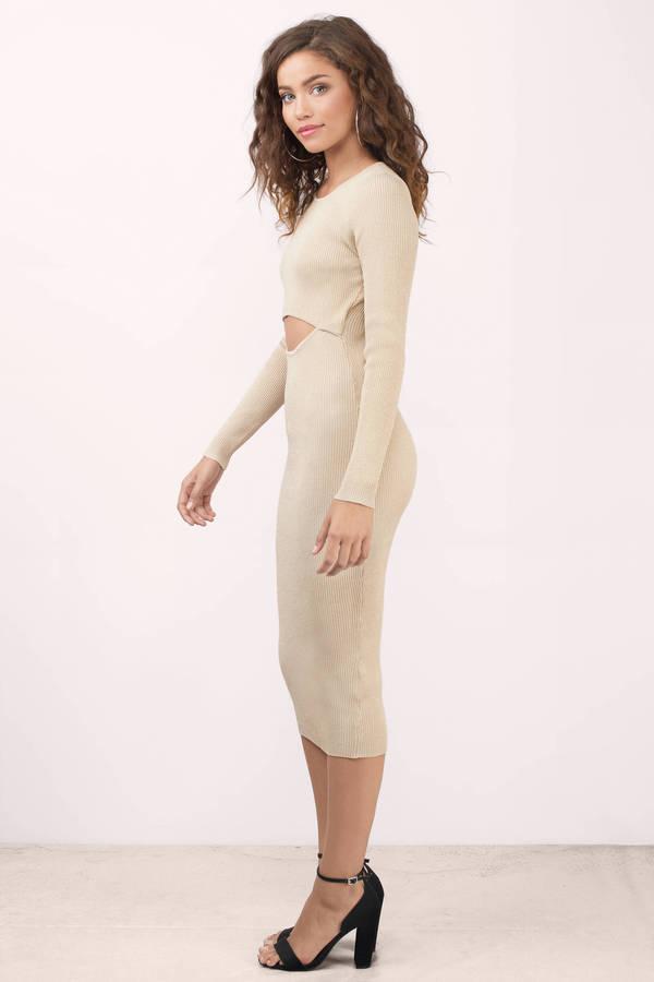 Trendy Taupe Midi Dress Metallic Dress Midi Dress 17 Tobi Us