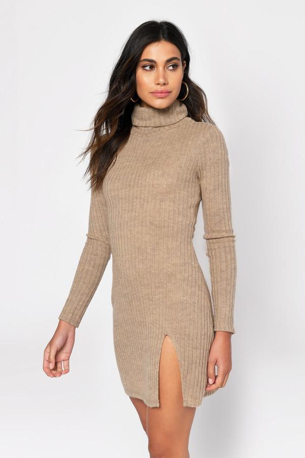 Misunderstood Rib Knit Dress in Taupe - $35 | Tobi US