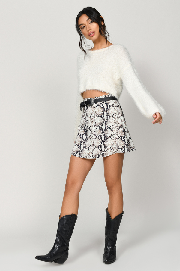 Beige Skirt Circle Skirt Beige Snake Print Skirt 163 13