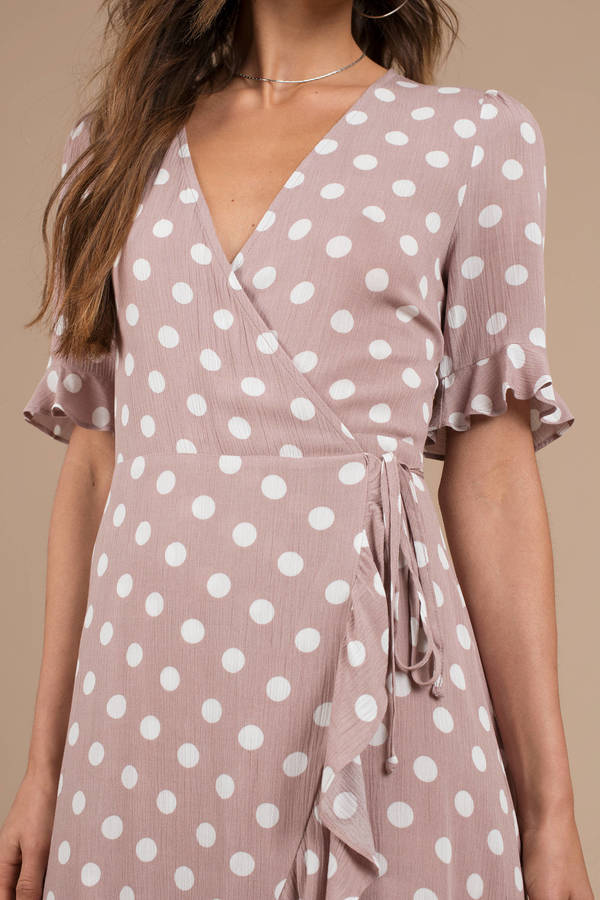 eb562e39190 Pink Maxi Dress - Polka Dot Dress - Pink Hi Low Maxi Dress - C  159 ...