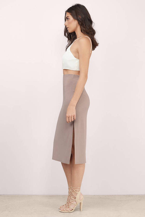 969f824d1 Cute Taupe Skirt - Taupe Skirt - High Waisted Skirt - Taupe Midi ...