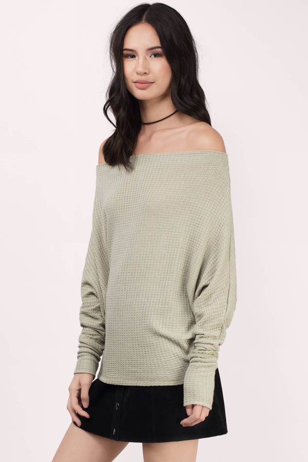 7c711395f848be Grey Sweater - Off Shoulder Top - Waffle Knit Sweatshirt - Grey Long ...