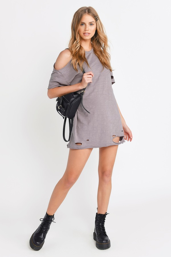 d77b67e751128 ... Tobi T Shirt Dresses, Taupe, Torn Apart Distressed Tee Dress, Tobi
