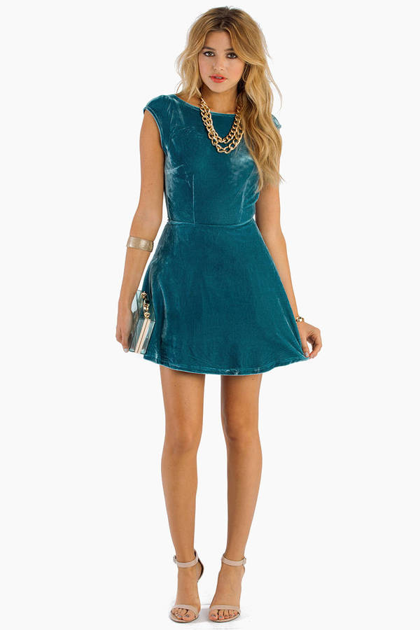 Teal Skater Dress - Blue Dress - Sleeveless Dress - $14.00