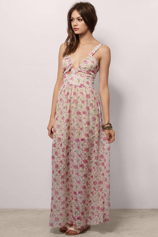 Free Shipping Sites >> Trendy Light Blue Floral Maxi Dress - Floral Print Dress ...
