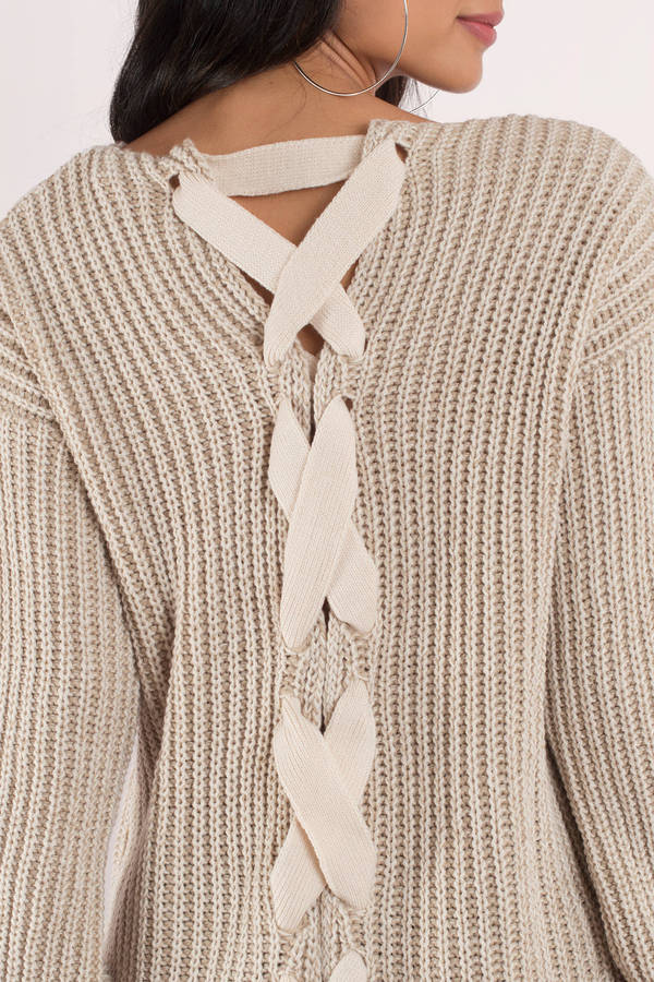 bab456d5a88 Beige Sweater - Lace Up Oversized Sweater - Cozy Beige Sweater -  18 ...