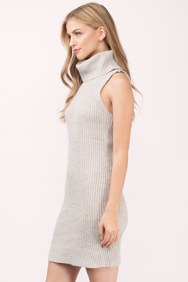 Toast Day Dress - Beige Dress - Turtleneck Dress - Beige Day Dress ...