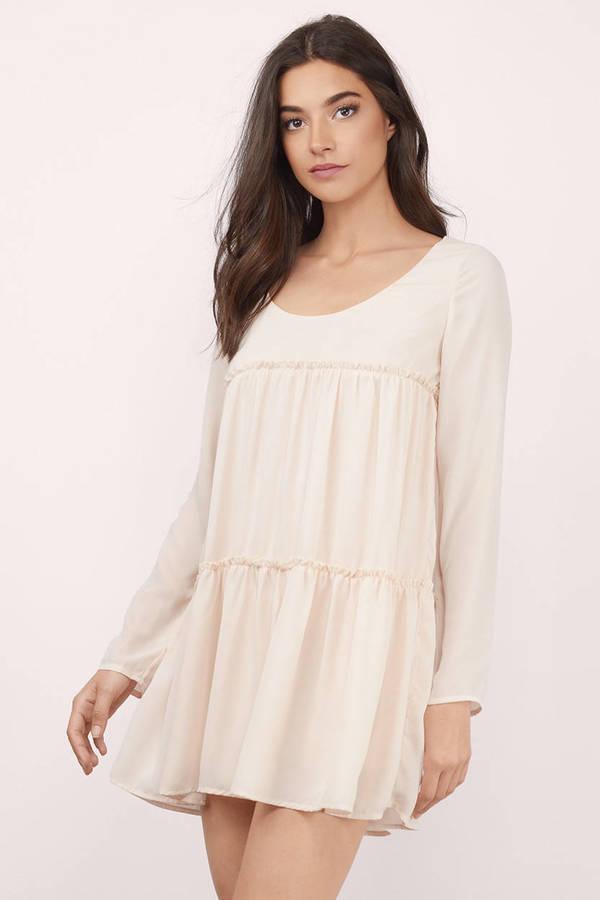 6d09becbb19 Cute Mint Green Shift Dress - Long Sleeve Dress - Tiered Dress - AU ...