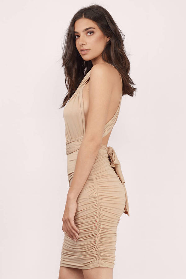 c795149c566 Sexy Beige Dress - Crossover Dress - Bodycon Dress - Ruched Dress ...