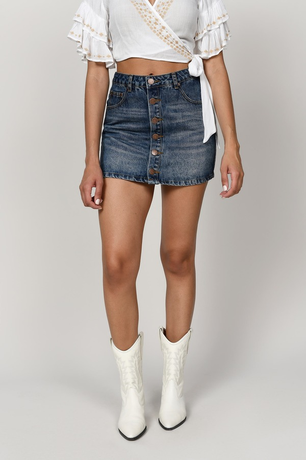Fairfax Vintage Wash High Rise Denim Skirt