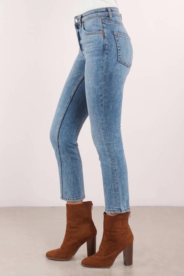 a028291c7abf09 ... Cheap Monday Cheap Monday Revive Washed Blue Denim Cropped Jeans ...