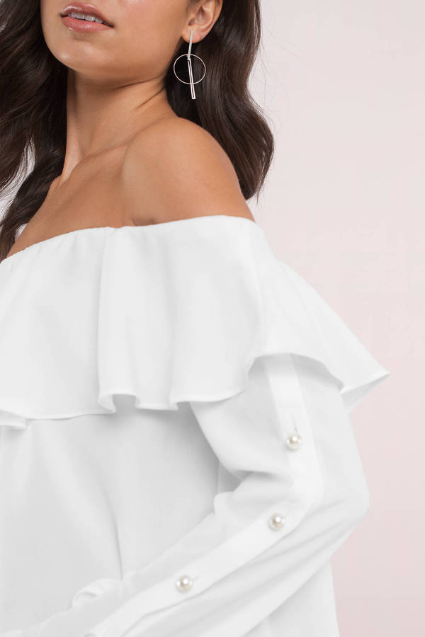d0160778cea587 Cute Top - Ruffled Top - Off Shoulder Top - White Top - C  27