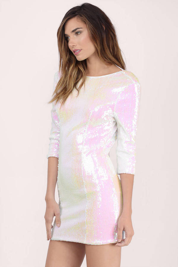 Cute White Bodycon Dress - White Dress - Sequin Dress - $20.00