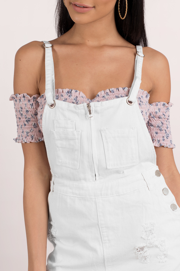 137f14eec51 White Casual Dress - Overall Dress - White Denim Pinafore - £44 ...