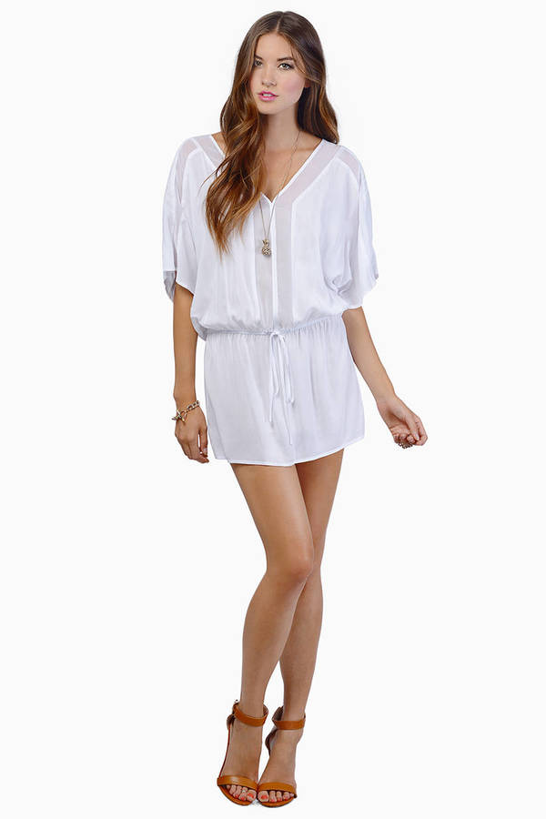 Trendy White Day Dress - Dolman Tunic Dress - $42.00