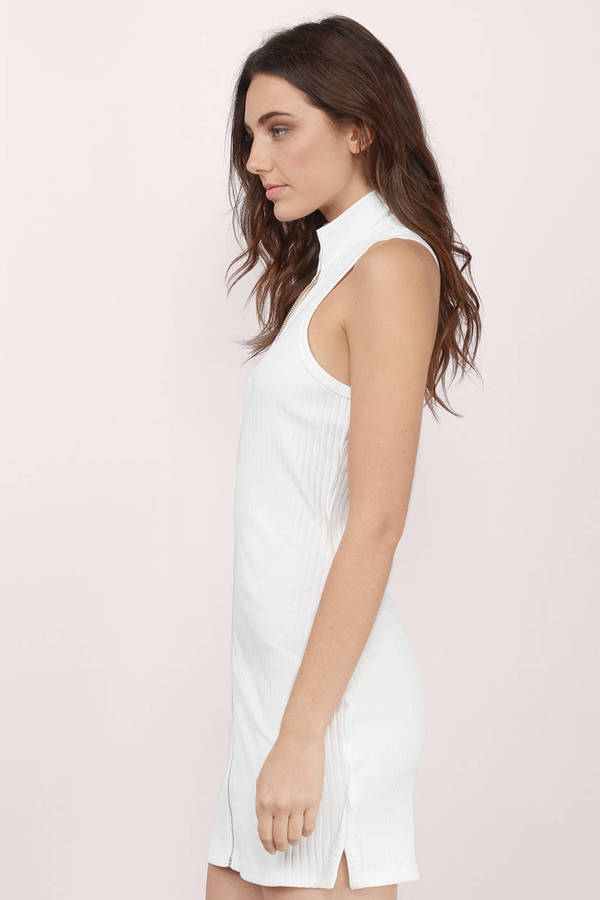 Cheap White Bodycon Dress - Turtleneck Dress - $12.00