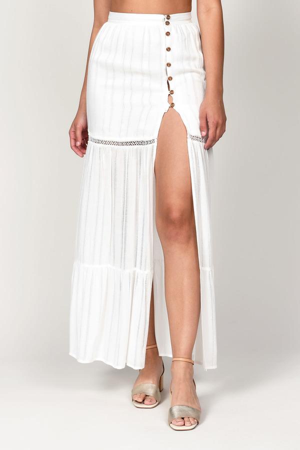 fa536b41bb ... Tobi Maxi Skirts, White, Astrid Side Slit Maxi Skirt, Tobi