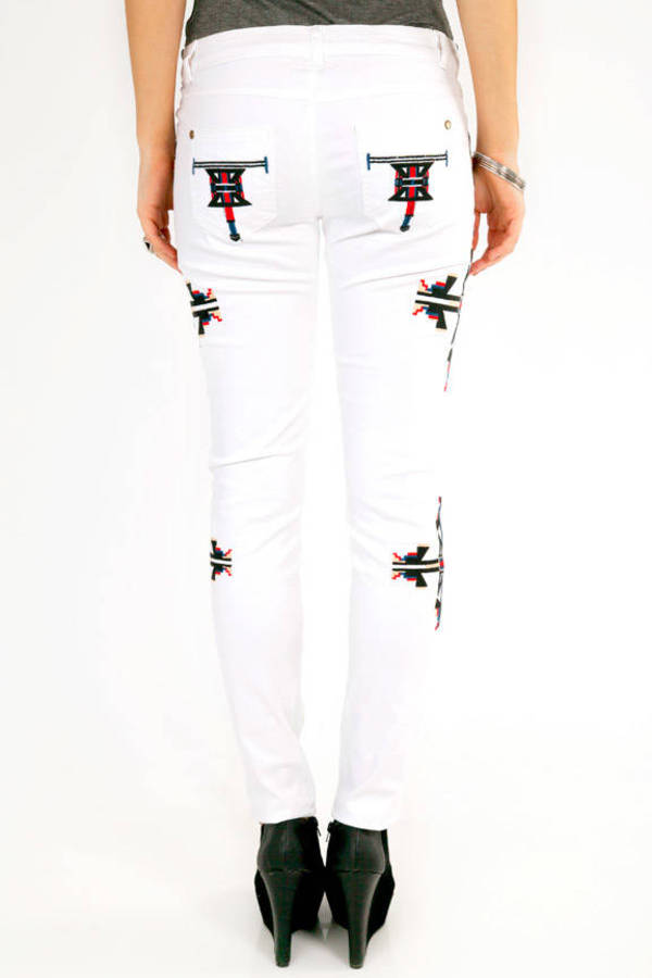 Aztec Embroidered Denim Pants