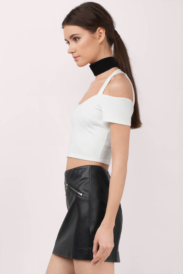 6710c7738f7e10 Cute White Crop Top - Cold Shoulder Top - White Top - White Crop Top ...