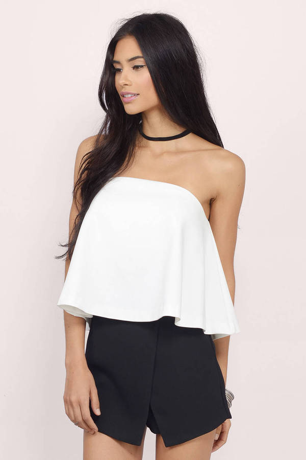 Black Crop Top - Black Top - Strapless Top - Black Crop ...