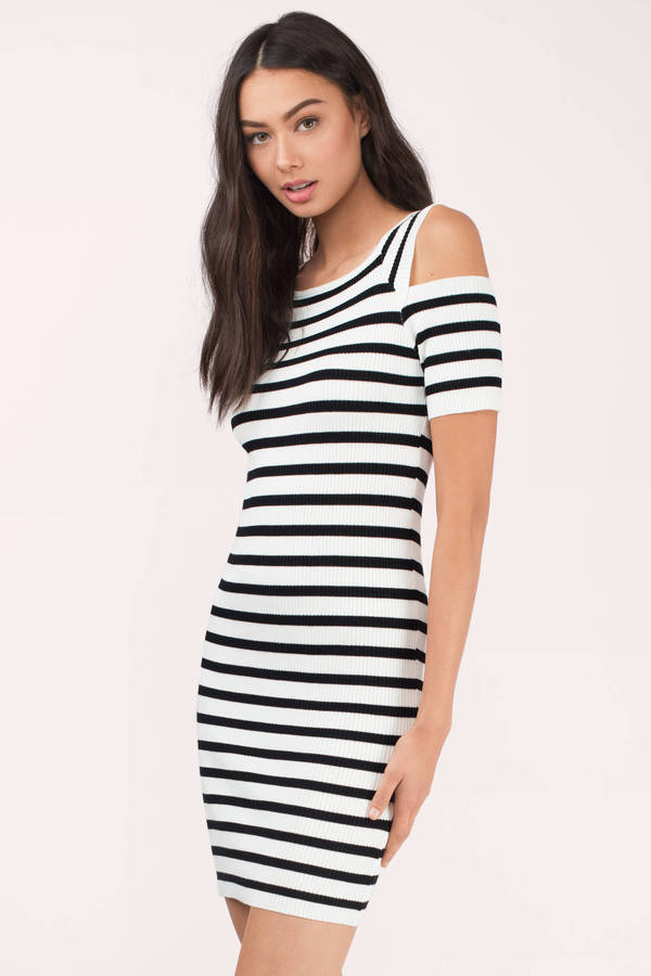 b45960f7d61f White   Black Bodycon Dress - Cold Shoulder Dress - Bodycon Dress ...