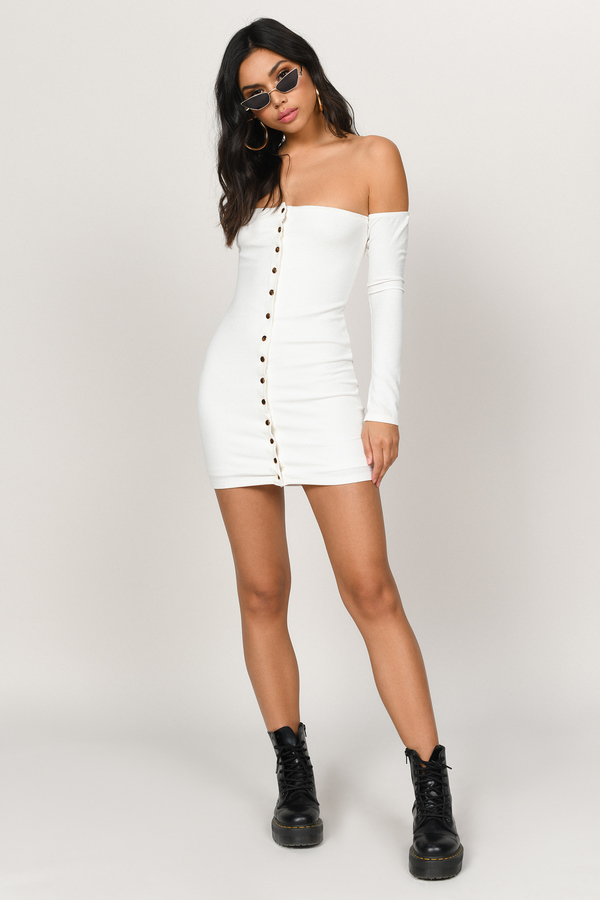 8fb909577 ... Tobi White Bodycon Dresses, White, Clara Off Shoulder Bodycon Dress,  Tobi