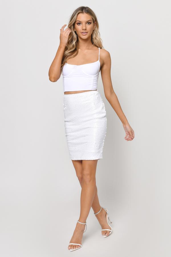 3f4df2a65a White Skirt - White Skirt - Sequin Skirt - Sparkly Skirt - $14 | Tobi US