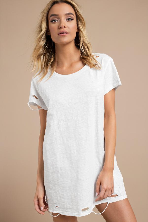 df1a260ac1a91 ... Tobi T Shirt Dresses, White, Destructed Distressed T-Shirt Dress, Tobi