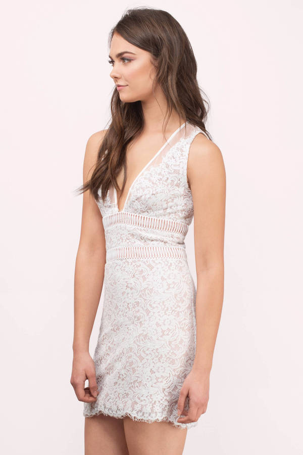 White Bodycon Dress - White Dress - Plunging V Dress - $216.00