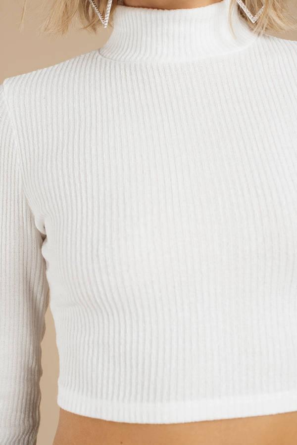 e6d8911a82e766 Cream Crop Top - Long Sleeve Top - Cream Mock Neck Top -  15