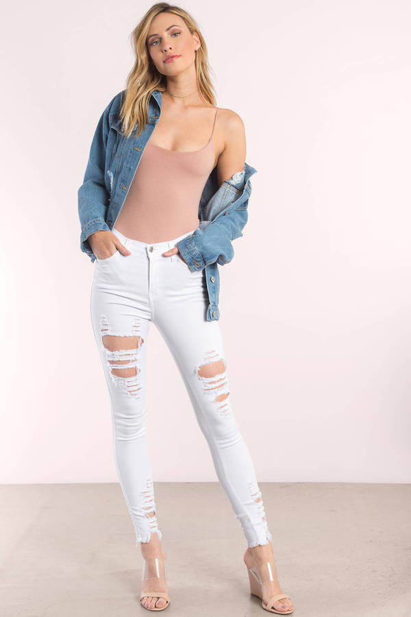 Fall Again White Distressed Skinny Jeans - $88.00 | Tobi