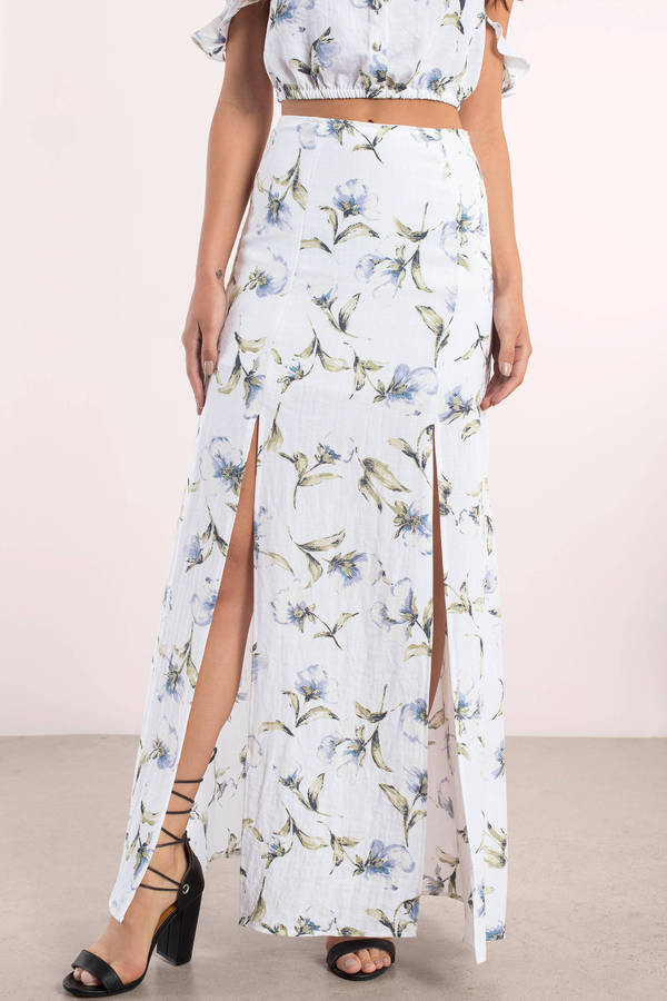Printed Maxi Skirt - White Floral Skirt - Floral Print Maxi Skirts ...