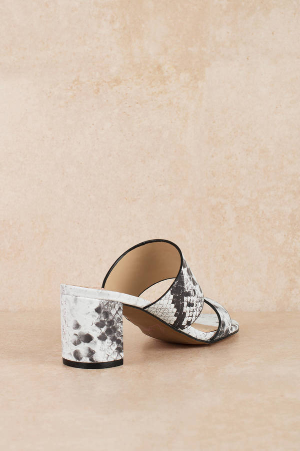 4bd74bca9 ... Mules and Slides, White & Grey, Kristin Cavallari Lakeview Snakeskin  Heeled Sandals