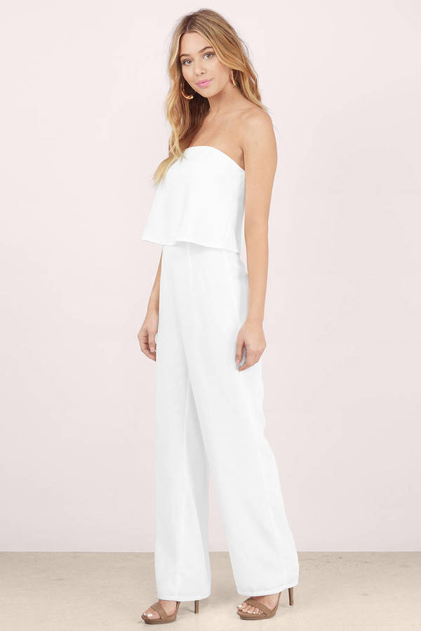 Cheap White Jumpsuit - Strapless Jumpsuit - $27.00