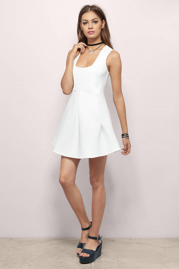 Cute White Skater Dress - White Dress - Pleated Dress - $18.00