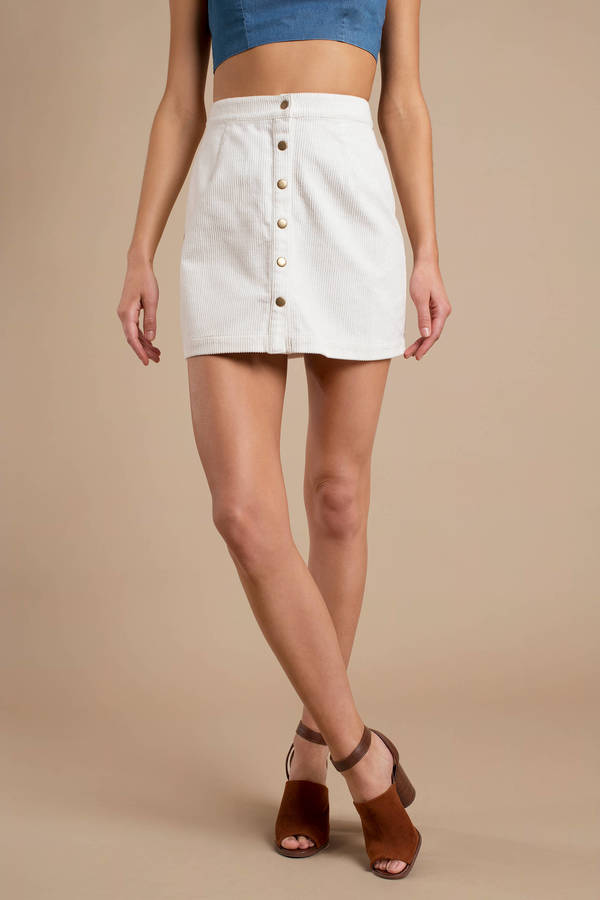 c7bf19586713 White Skirt - Corduroy Skirt - White Button Up Skirt -  17