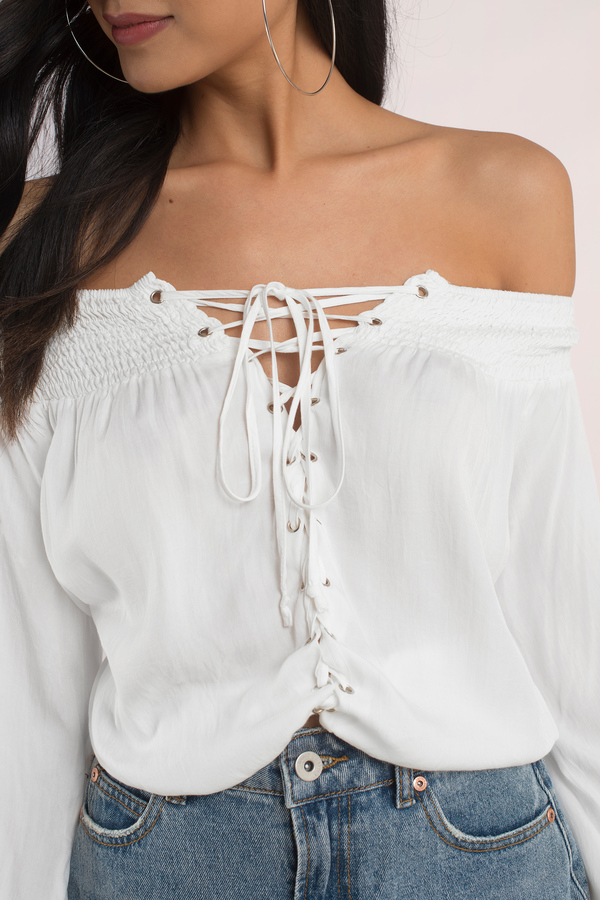 a82dffb1774 Cute Top - Lace Up Top - Off Shoulder Top - White Blouse - $76 | Tobi US