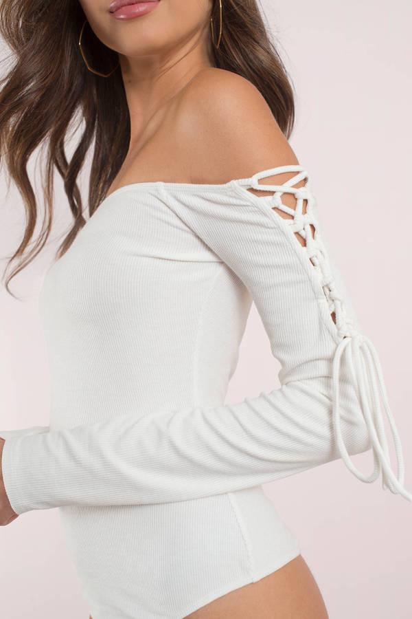 206445f309 Cute White Bodysuit - Lace Up Sleeves - Long Sleeve Bodysuit - $15 ...