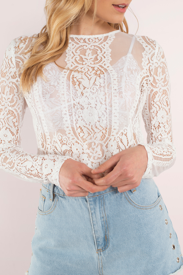White Top - Lace Top - Cream Lace Top - White Crop Top ...