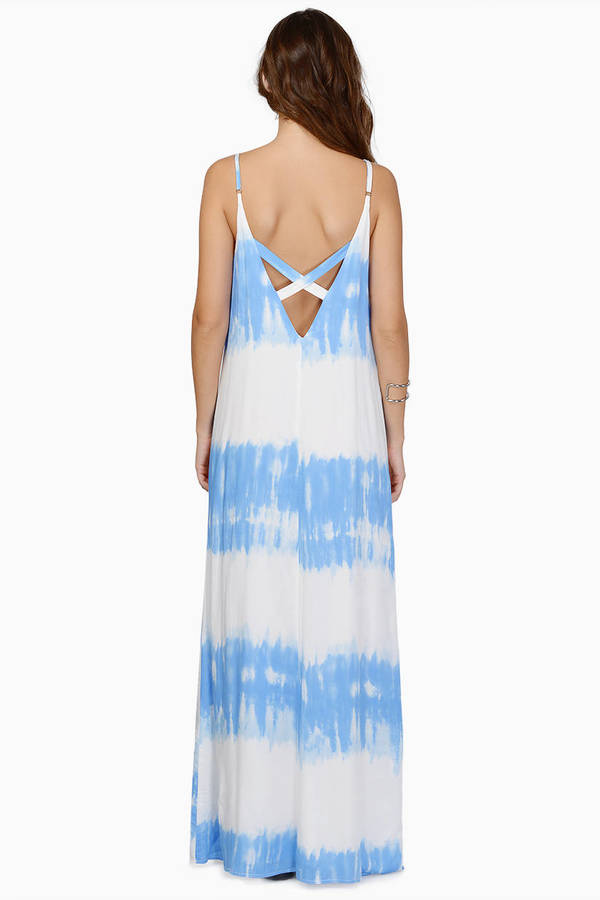 Cute White Amp Light Blue Maxi Dress Cross Back Dress