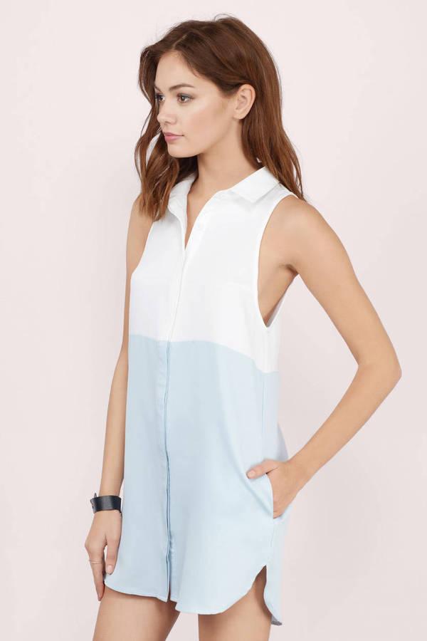 White light blue day dress white dress shirt dress for Blue white dress shirt