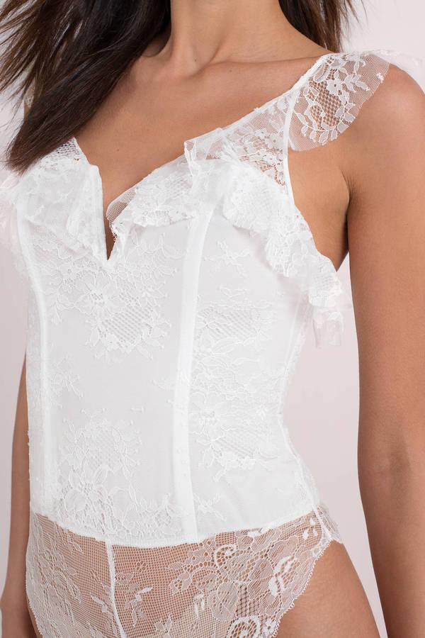 841c5229f Sexy White Bodysuit - Ruffle Bodysuit - White Lace Bodysuit -  98 ...